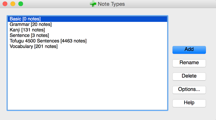 My four custom note types: Grammar, Kanji, Sentence, and Vocabulary