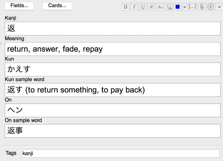 My custom fields for adding new kanji