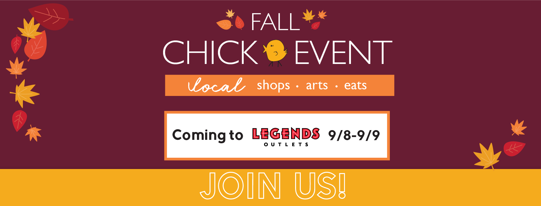 Join us September 8th-9th for the Fall Chick Event  Pop-Up Market Place at the Legends Shopping Center (Covered Event)  To get to the rooftop, go up the stairs like you are going to Dave and Busters.   There is parking lot, use the 2nd floor parking and walk across the landing.  You will find us in the center bar area. Rain or Shine we will be there, look forward to seeing you.   September 8th - 10am - 6pm   September 9th - 11am - 4pm       1843 Village West Parkway Kansas City, KS 66111   Event will be located on the rooftop event space located near Dave & Busters   Sweet Streams Lavender will be hosting a DIY on Sunday 2pm come join us and make your own lavender sachet. We will talk about the benefits of lavender and you will get to take a your sachet home.