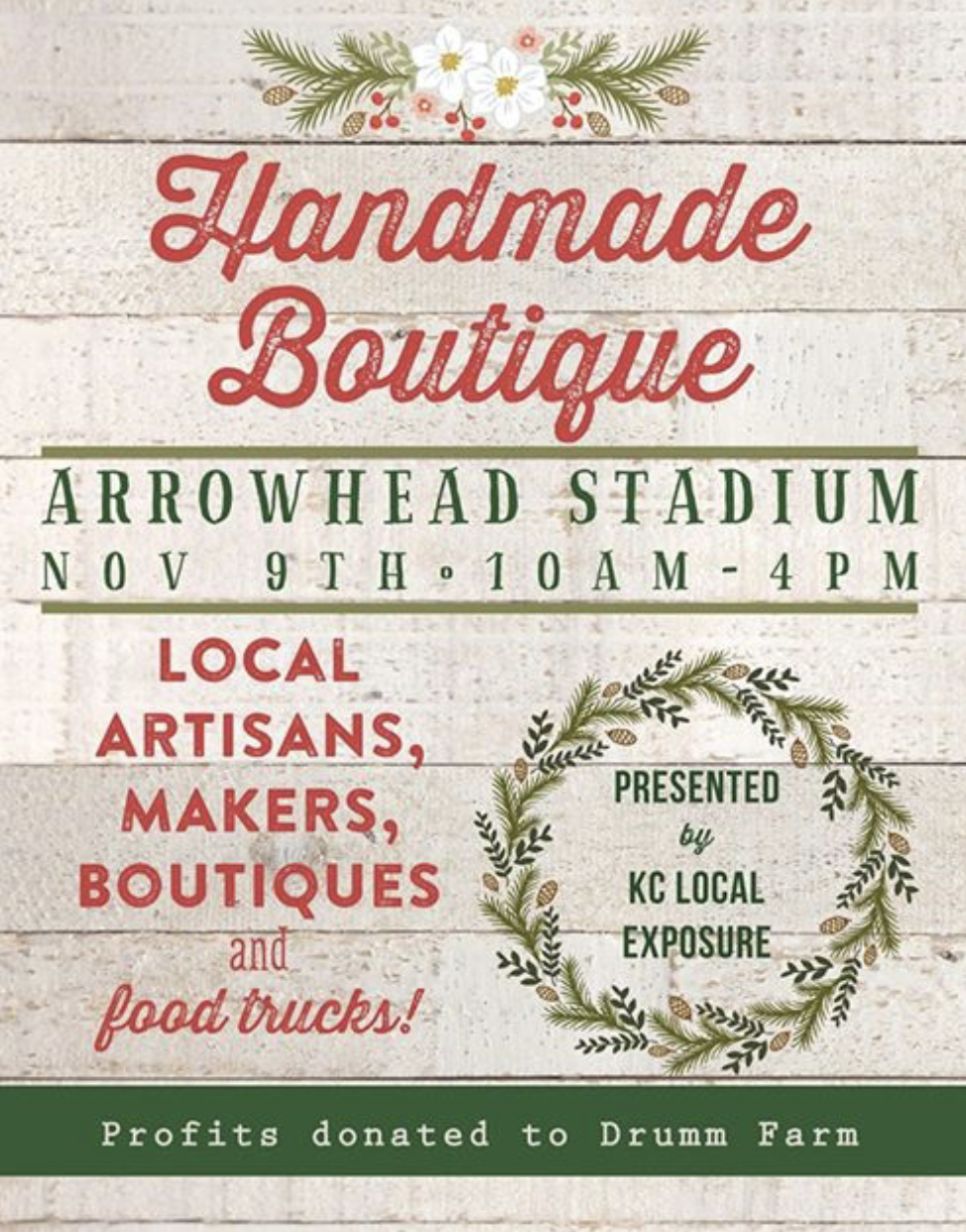 Join us at Arrowhead Stadium Indoor Conference Center  Saturday, November 9, 2019 at 10 AM – 4 PM   Arrowhead Stadium  1 Arrowhead Dr, Kansas City, Missouri 66049   Show Map   Hosted by KC Local Exposure  Located on the South side of the Stadium at the Tower Entrance  We love being apart of this event. Charity Partner for this event is Drumm Farm, dedicated to helping children in foster care, homeless young adults and those aging out of foster care.  Shop all your favorite lavender products. If you are looking for gifts for Christmas, we have you covered.