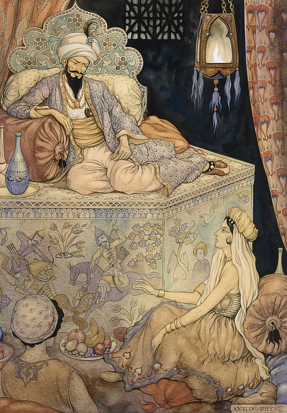 The story telling of Queen Scheherazade to King Shahryar. Anton Pieck. 1943.   Inspired by One Thousand and One Nights.