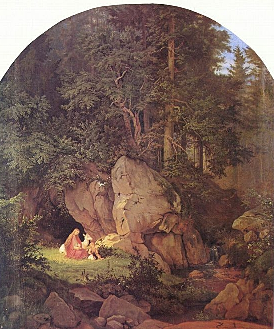 """""""Genoveva in the Forest Seclusion"""" Adrian Ludwig Richter"""