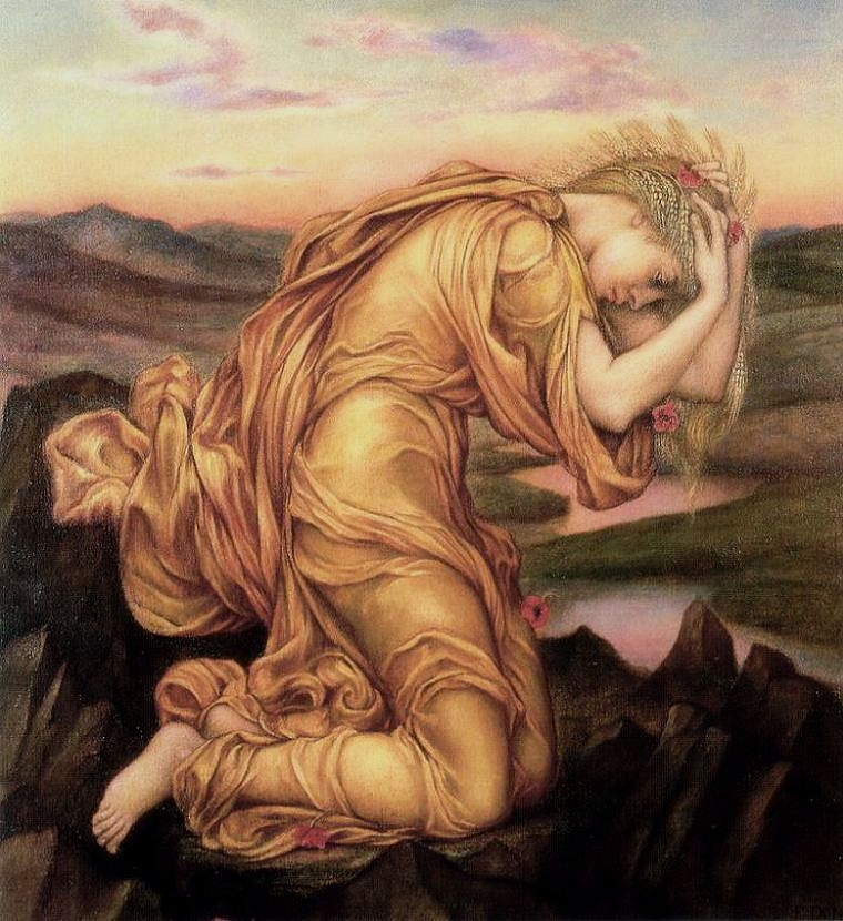 Demeter Mourning Persephone by the English Pre-Raphaelite painter Evelyn De Morgan