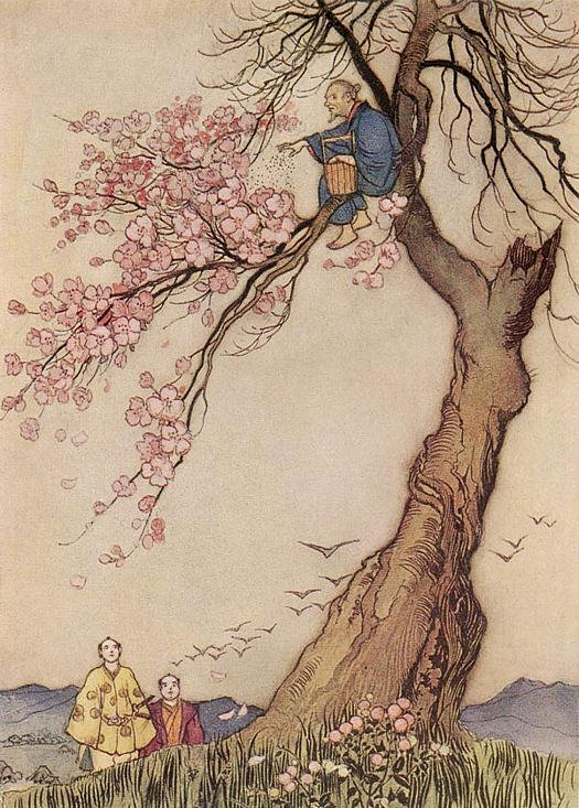 """Hana-Saka-Jiji"" - Green Willow and Other Japanese Fairy Tales by Grace James, 1910 Warwick Goble"