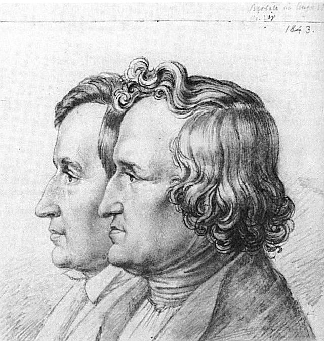 Jacob and Wilhelm Grimm in an 1843 drawing by their younger brother Ludwig Emil Grimm, art source  here