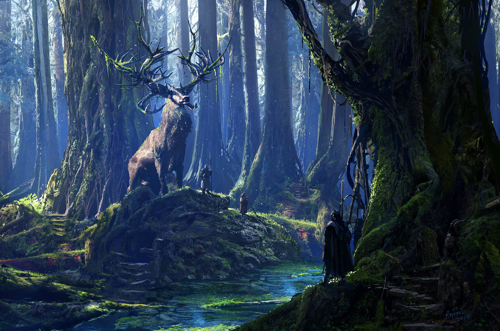 Cernunnos and his Druids by Raphael Lacoste