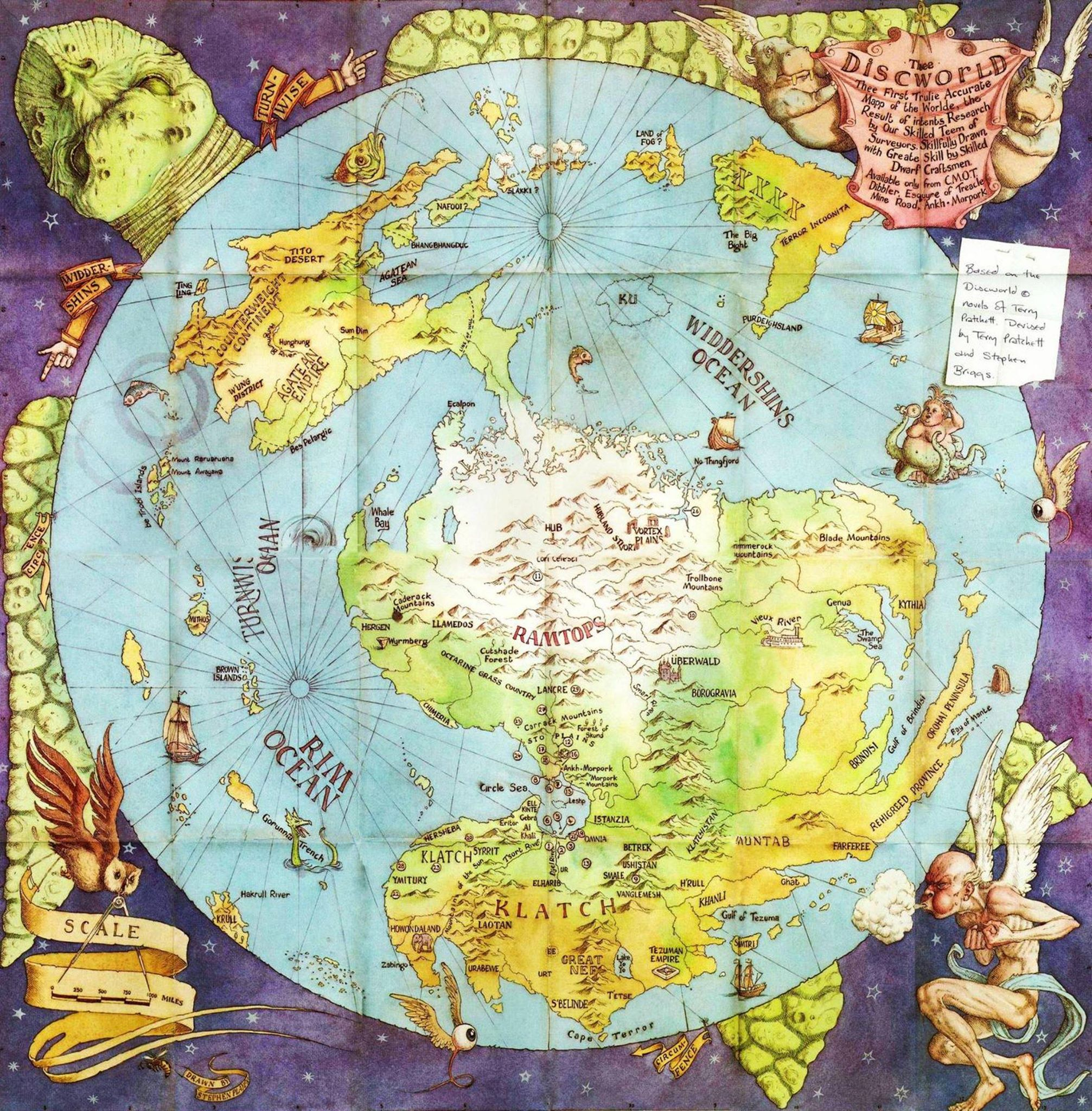 Discworld map by Stephen Briggs, illustrated by Stephen Player
