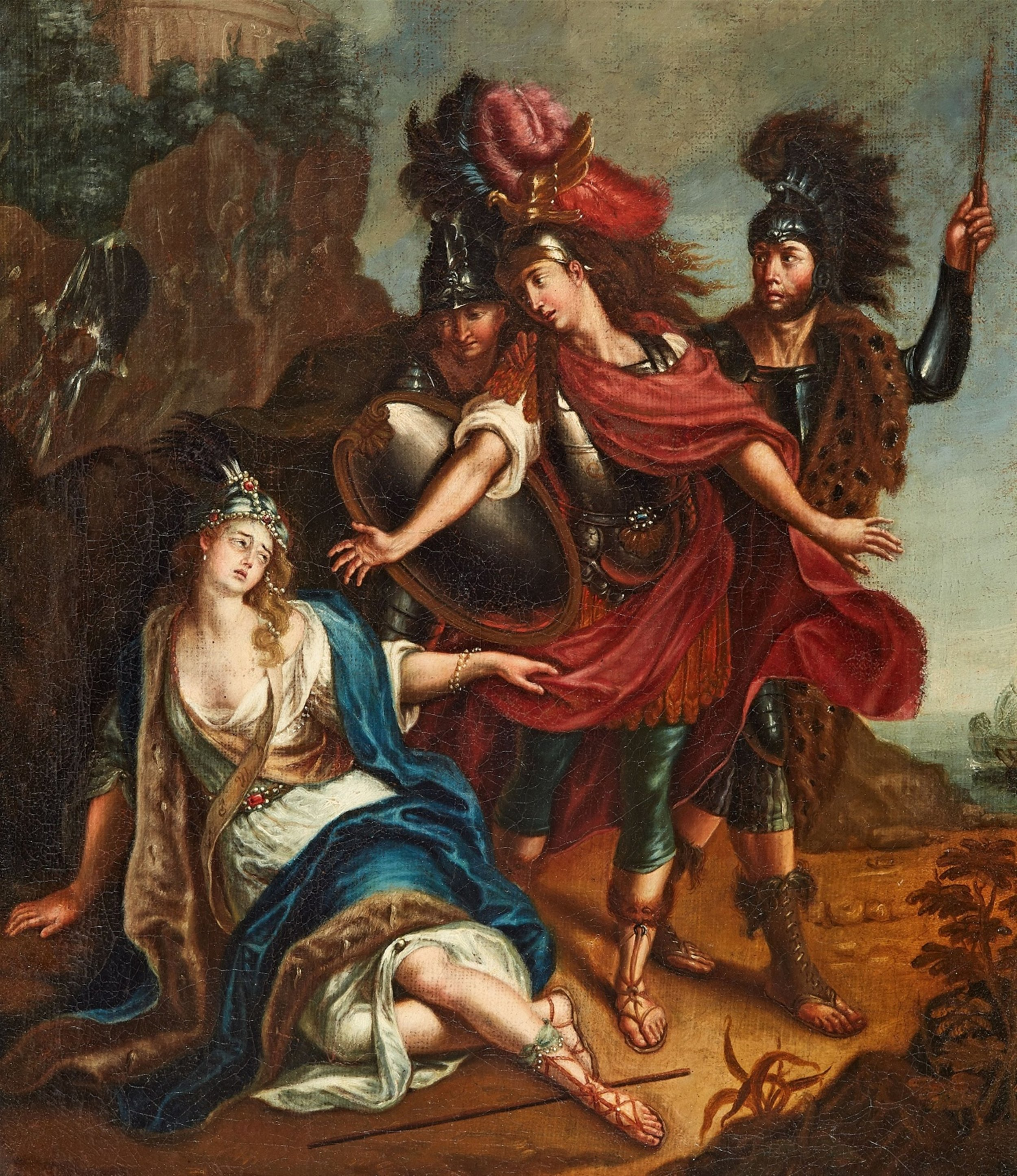 German School, late 17th century Achilles and the dying Penthesilea Oil on canvas.