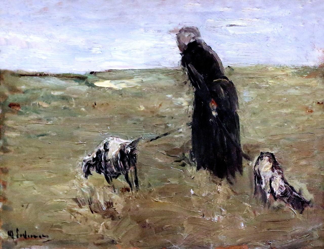 Max Liebermann (Germany 1847-1935)Alte Frau und ihre Ziegen - Old Woman