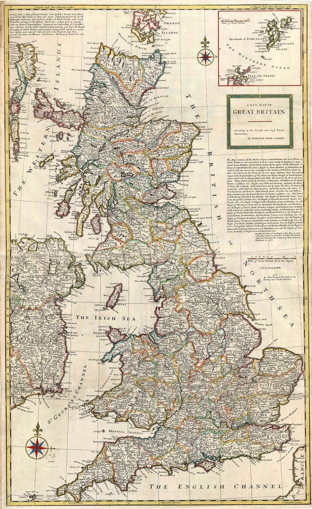 Antique map of Great Britain by Herman Mol