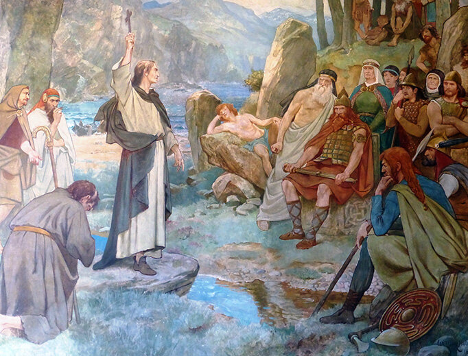 This mural in the Scottish National Portrait Gallery depicts the Picts being converted to Christianity by Saint Columba. (William Brassey Hole, c. 1899)