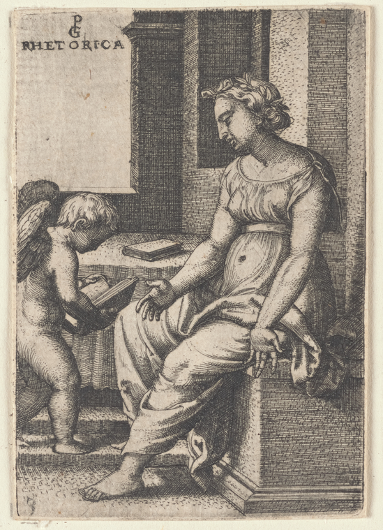 Rhetorica, by Georg Pencz (c. 1500-1550). Engraving, stamped in black ink. From the New York Public Library Digital Collection.