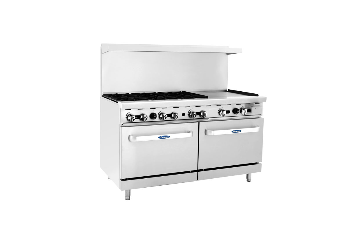 "(New) Atosa ATO-6B24G(60"" 6 Burner w/Griddle and Dual Ovens)-Please Call!"
