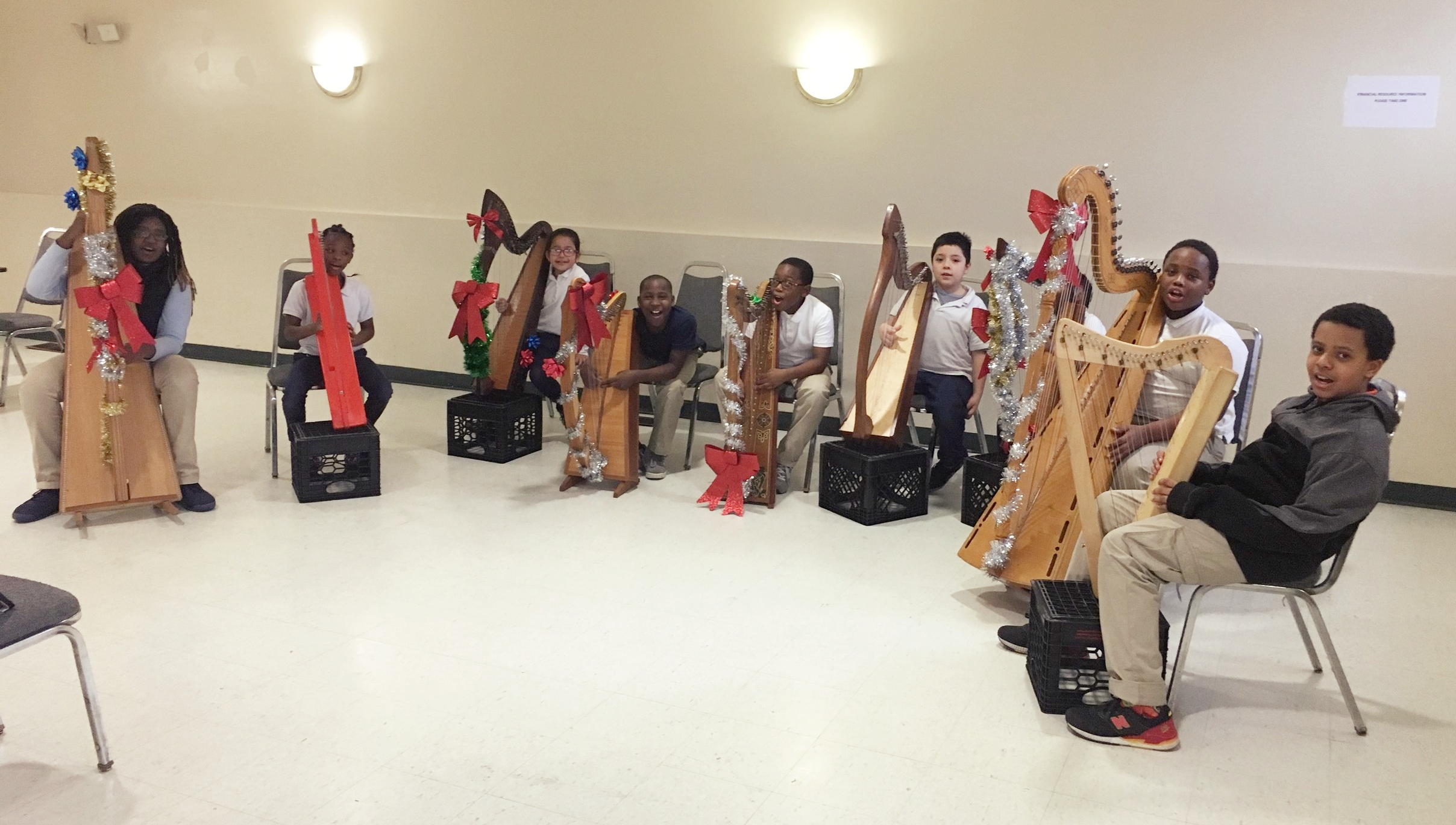 Druid Heights Harp Class with Highlandtown Elementary ORCHkids combined rehearsal