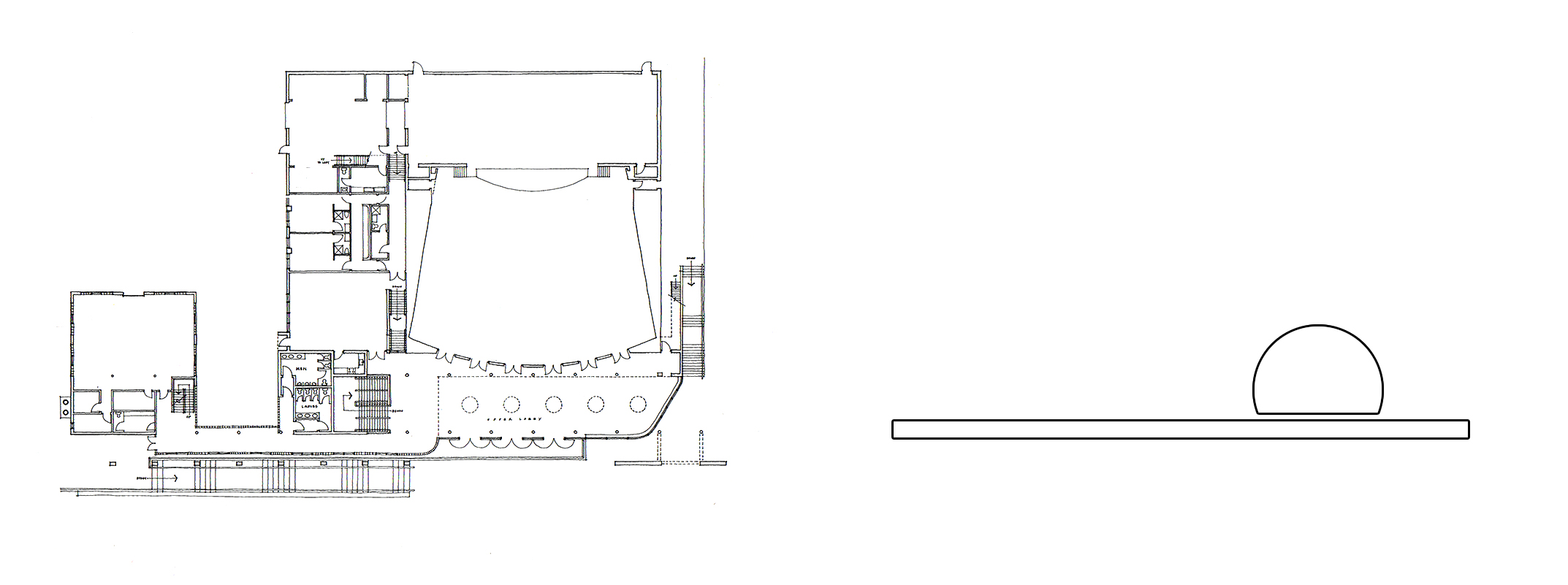 The Hill School Performing Arts Building; Pottstown, PA (left)  |  Conceptual Parti Diagram (right)