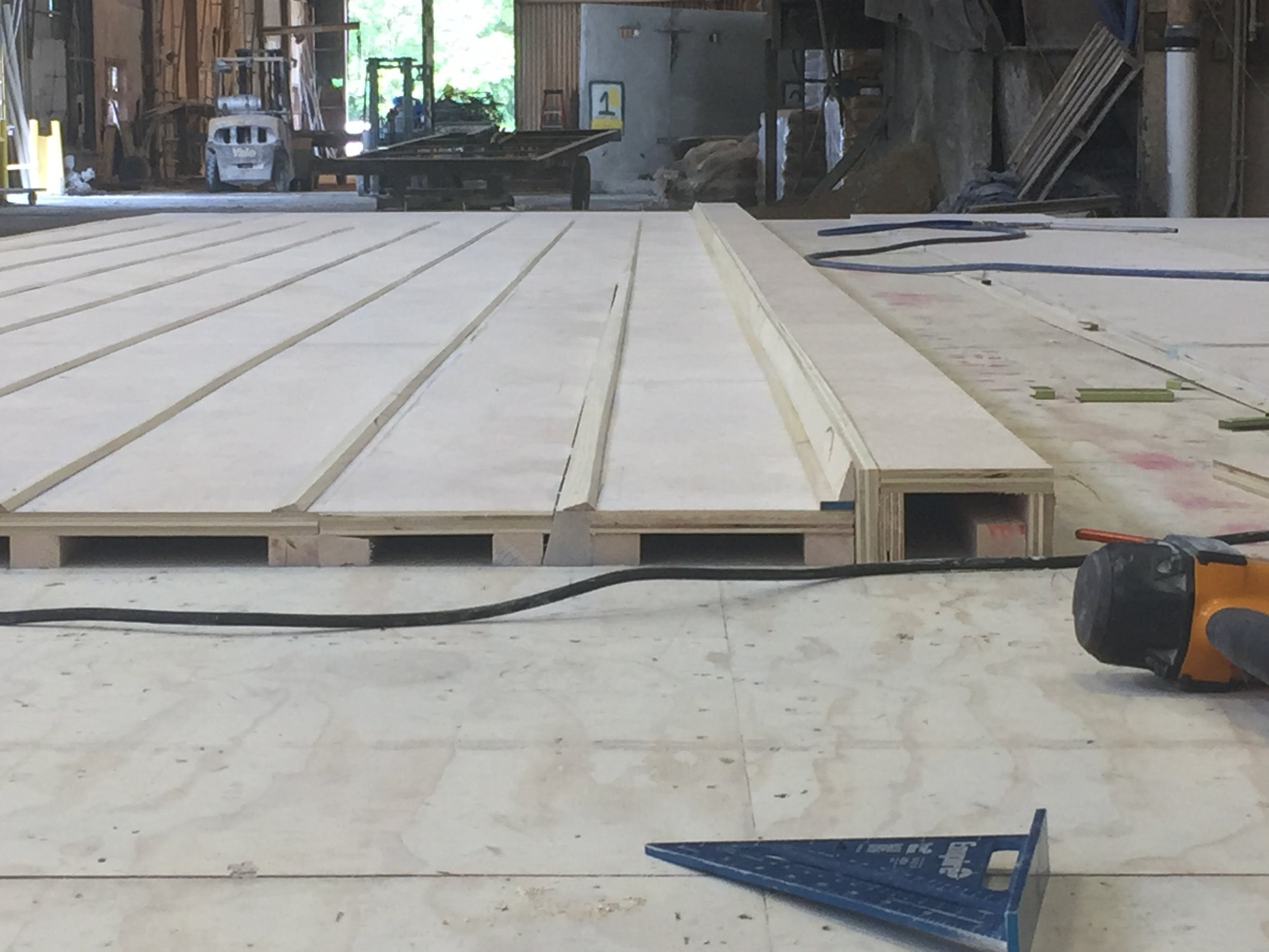 View of hand constructed wood mold.