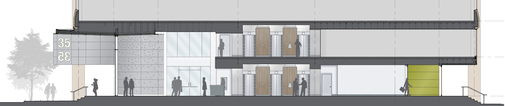 Cross-Section through lobby