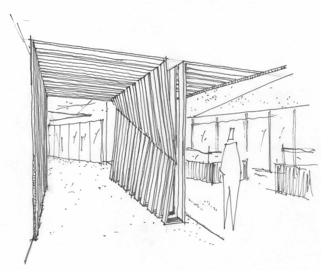 Concept Sketch: The design incorporated a wood slat feature which helps create spatial separations while aesthetically stitching the space together with warm, natural tones & textures.