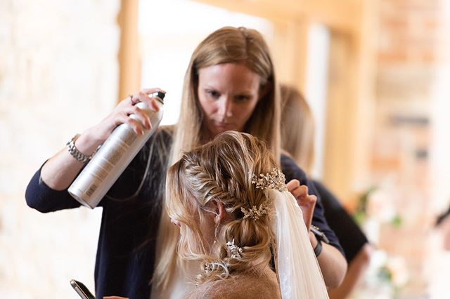 Here's a pic of me adding some finishing touches to the second hairstyle for @jessicalouisegladstone last week at the @wed2b shoot. LOVED this style 😍 I think fishtail is my fav braid on blonde hair👌🏻