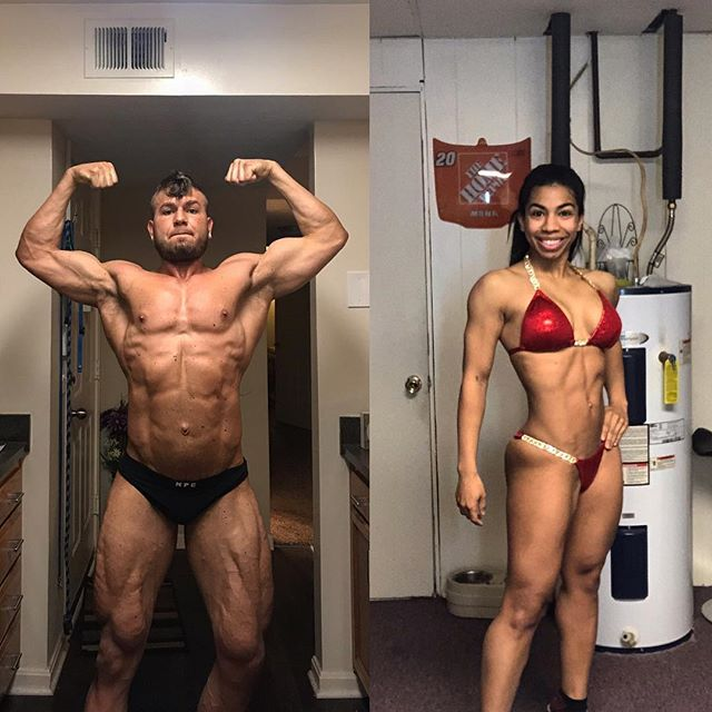 Power couple @chris_faulk_ner and @teiairvine just about 4 weeks out of their very first show!  This will make a cool podcast topic to discuss in length, but I've always enjoyed prepping couples together.  The encouragement, accountability and constant drive for each of you to push to not let the other down always results in a better outcome, but more importantly, a closer relationship.  Super excited to cruise these guys in now. Both have nailed absolutely every variable the whole time we have been working together, so this coaching process has been more than a pleasure.