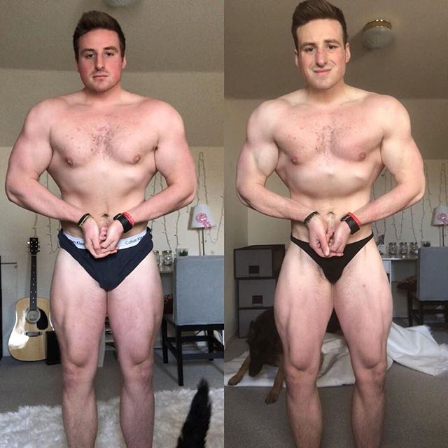 9 weeks of progress for my boy @justinmckeown_ . Body fat lost, muscle tissue added.  Now 12 weeks out of his first show.  Please check out his profile and have a look at his first YouTube vlog uploaded just yesterday for an insight into what he is doing to pull in results like this.  Things are going to get damn brutal for Justin. Follow his vlogs if you want to watch just how brutal this is gonna get. 🤣