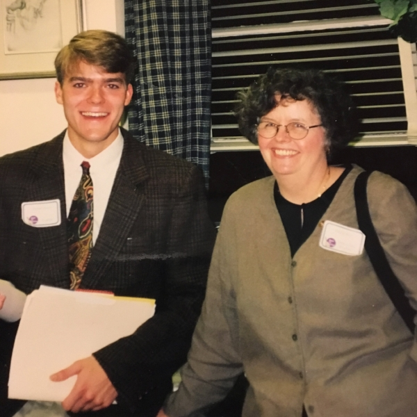 Second-year teacher English teacher Peter Horn with his supervisor Paula Roy in September, 1998 for Back-to-School Night at Westfield High School in New Jersey.
