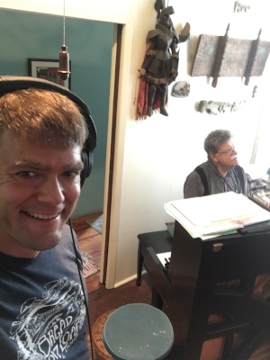 Snapped this smile while Mark Wright was working out some harmonies for the soundtrack. Could have listened to him all day!