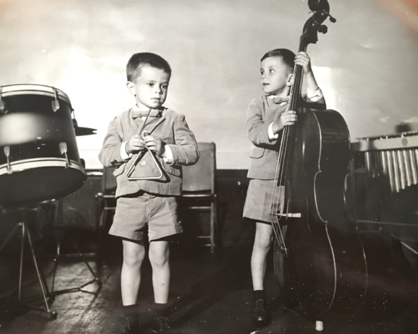Tom on the triangle, his first instrument; his older brother Joe on bass. Circa 1952.