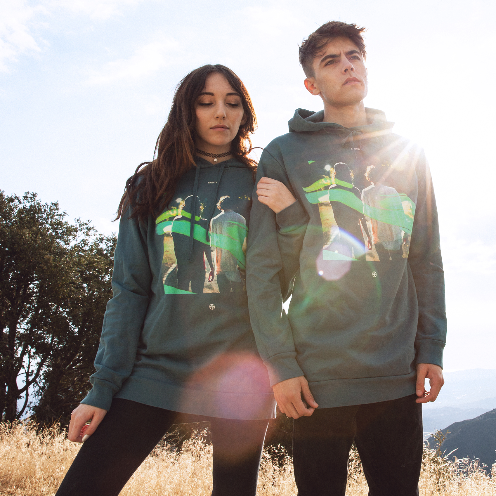 Longline pullover hoodies from the Shelter merch collection
