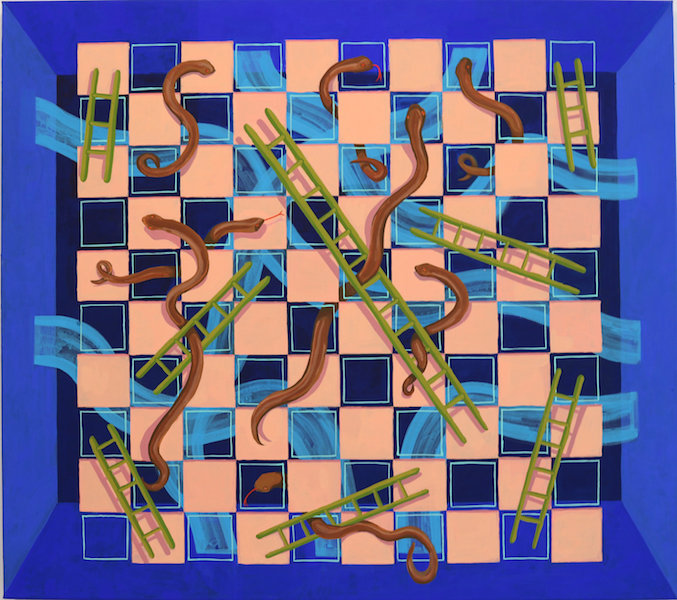 'Snakes and Ladders', acrylic on canvas, 2019, 91 x 81 cm
