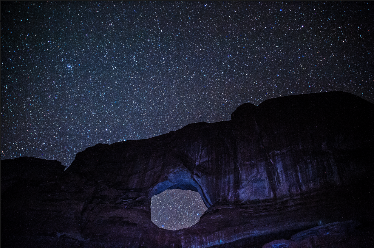 Backside of Fullmoon Arch, 20 seconds, 24mm, Nikon D700, ISO 5000, WB auto, F 2.8, shot in raw, and played with in photoshop.