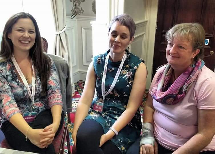 With the other women on the expert panel at the Wear A Fair - BabyWearing Consultant Olwen Row from  Born To Be Carried  and Lactation Consultant Mairead Murphy from  Better Breastfeeding . It was so lovely to catch up with them.