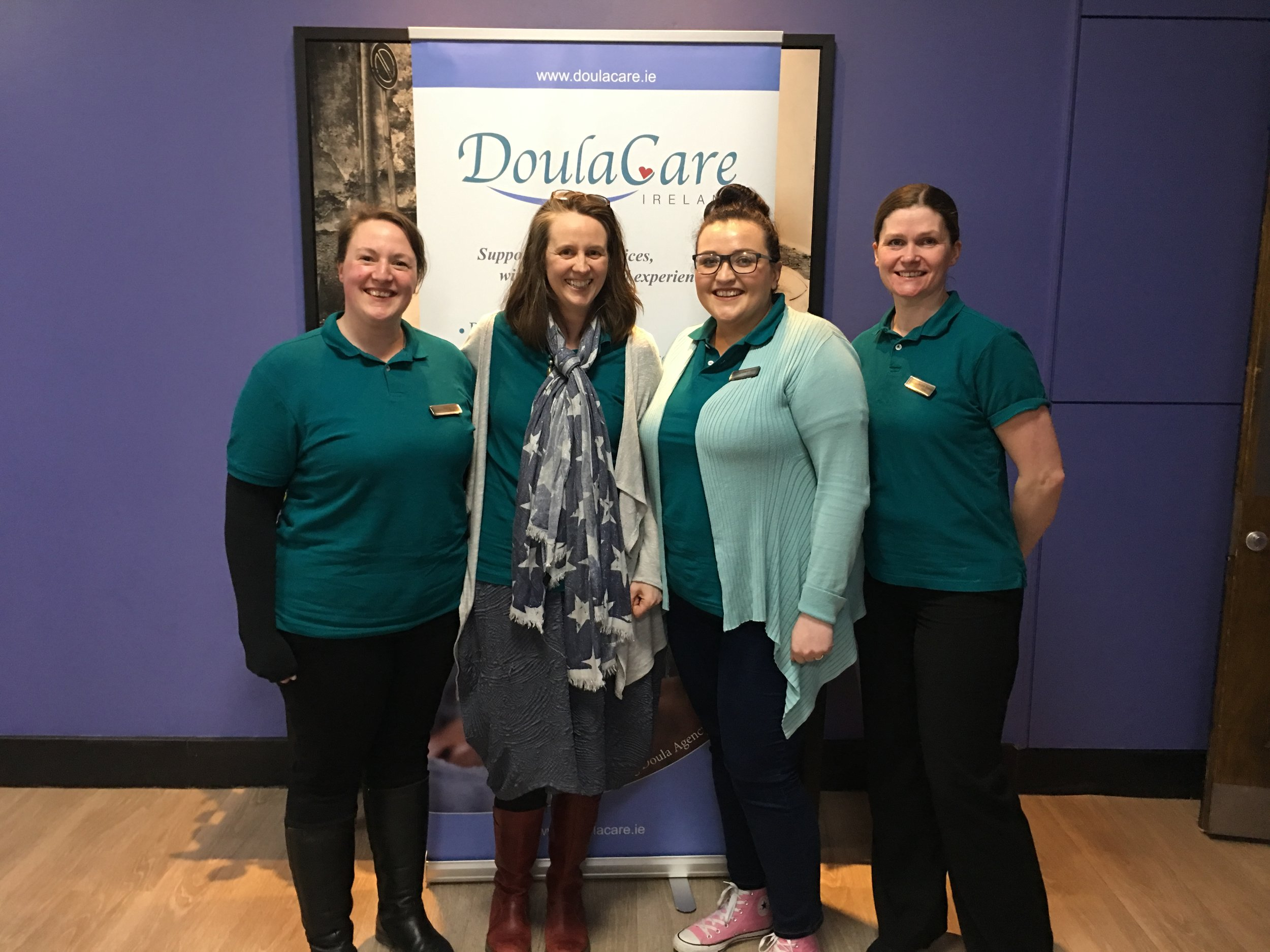 Our Cork DoulaCare Ireland team from l-r: Zoe, Mary, Claire and Jacquie at our Meet the Doula Event for World Doula Week in Cork.