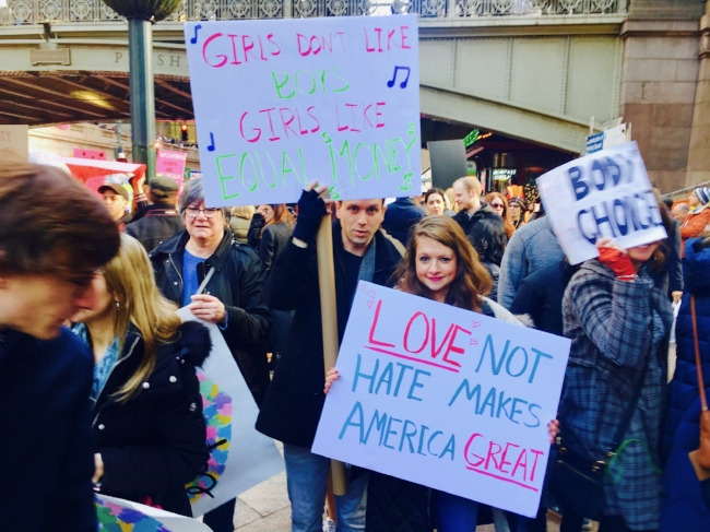 Nick and I at the Women's March in NYC--how awesome is his sign?!