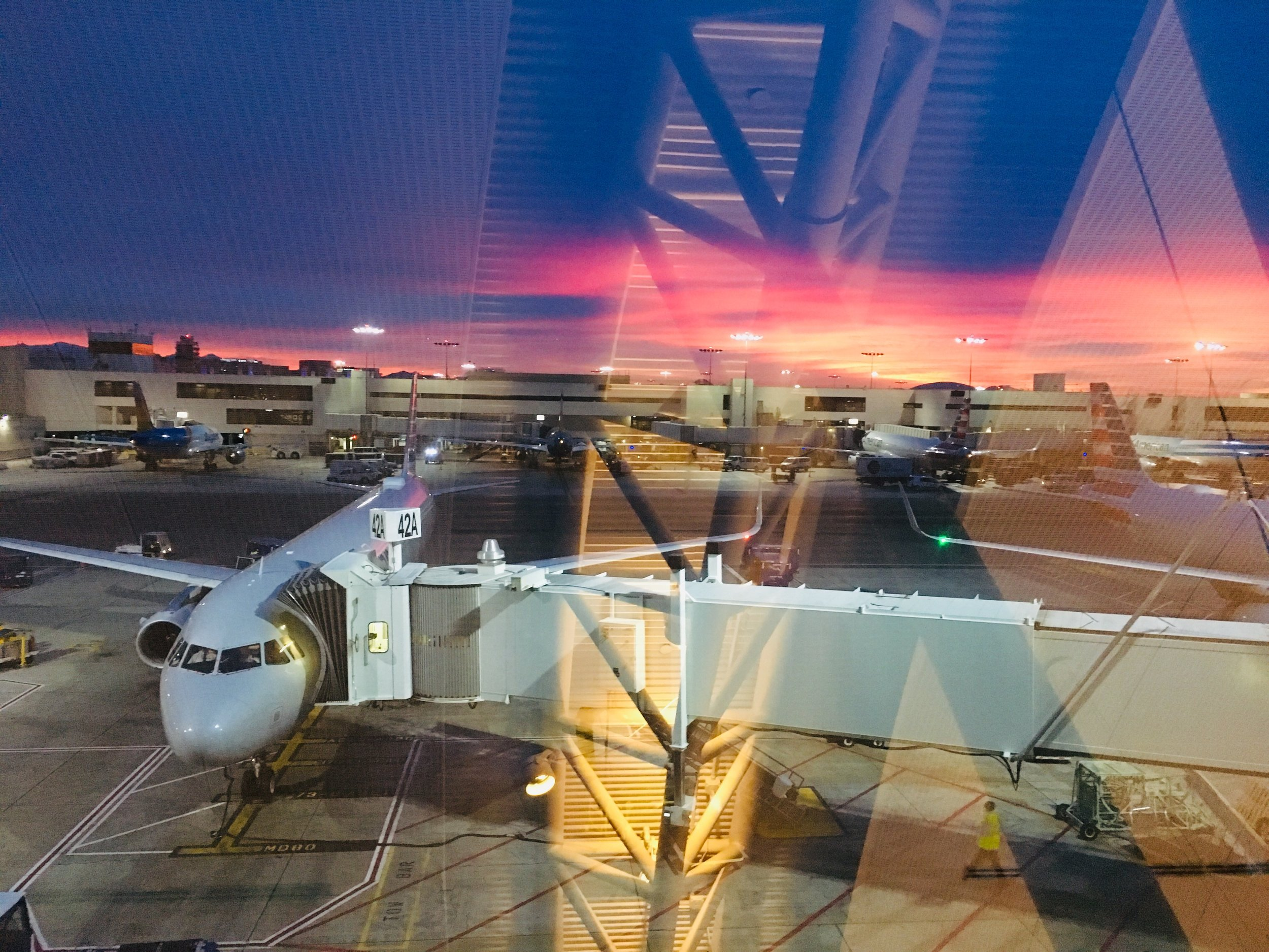 Sunrise at LAX. Even in the stress of travel I was amazed by the colors in the sky.