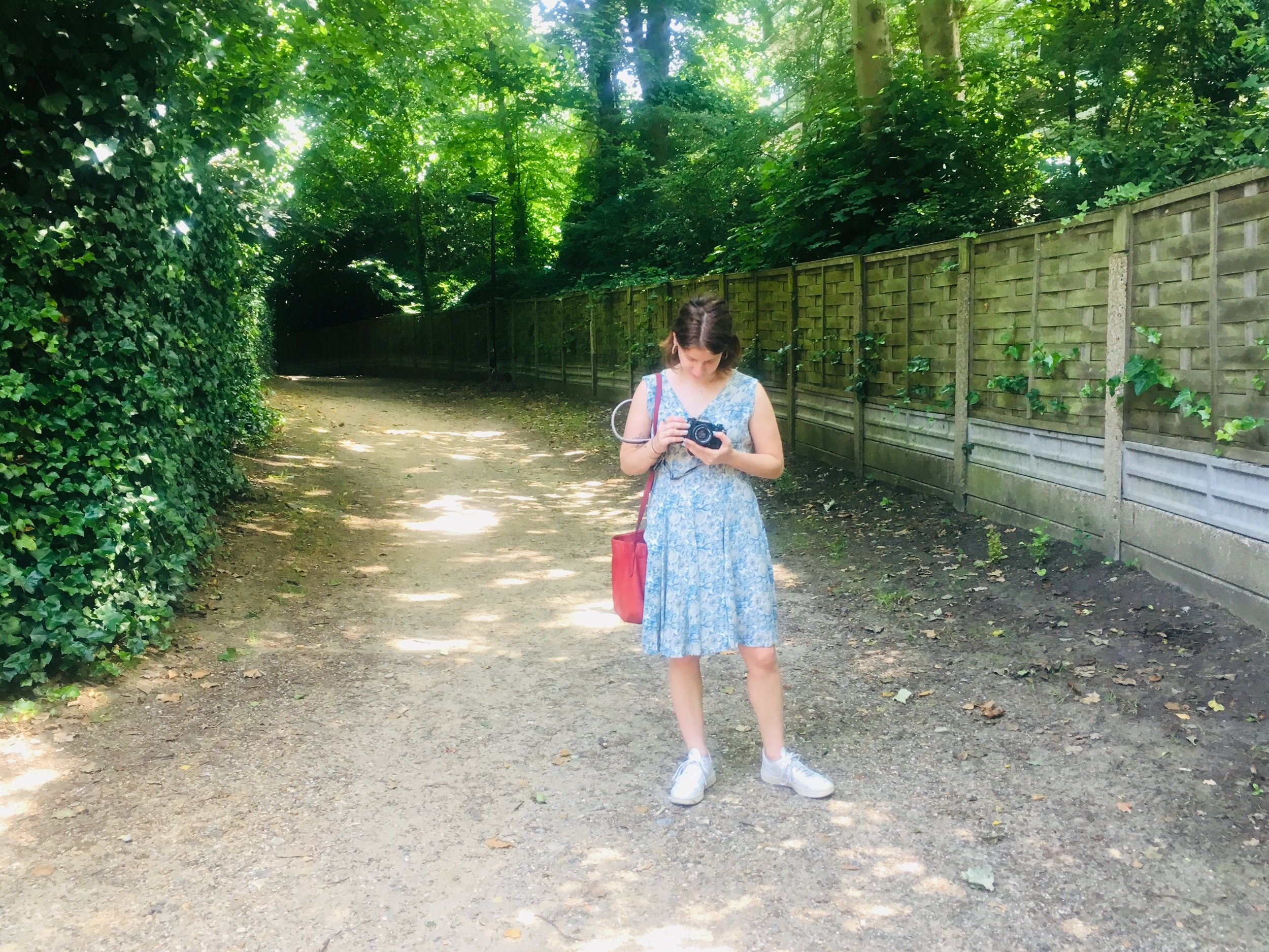 My sister on the road to Hampstead's town center