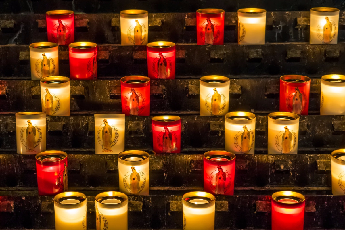 Candles with Mary in them from A Cathederal