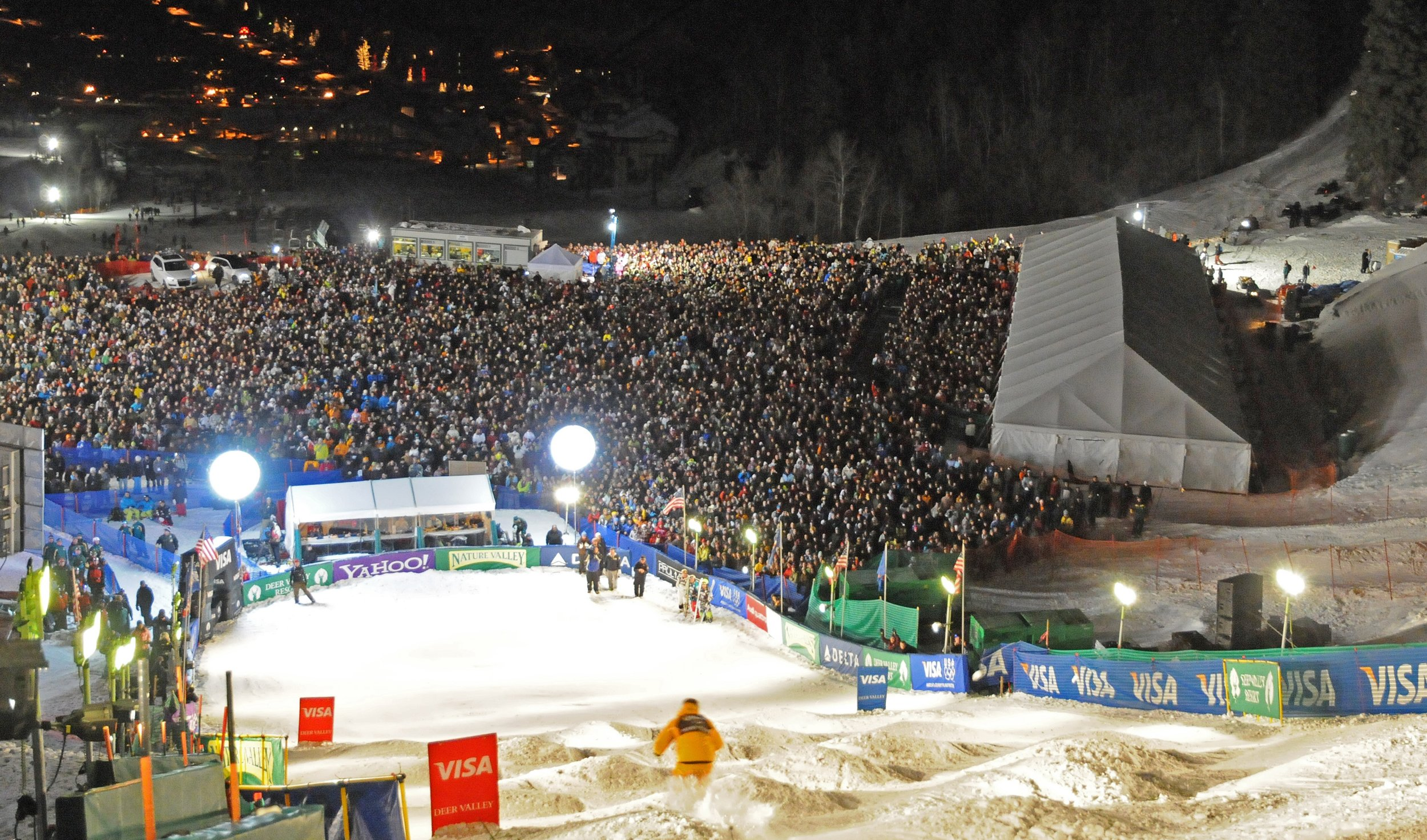 Over 5,000 fans packed the venue at the 2010 Visa Freestyle International moguls World Cup at Deer Valley Resort in Park City, Utah. (U.S. Ski & Snowboard - Tom Kelly).jpg
