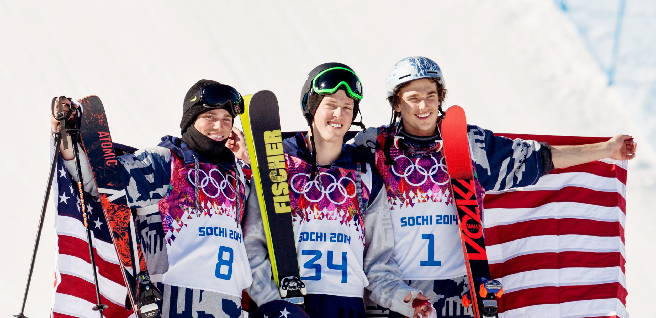 U.S. podium sweep at the historic debut of men's slopestyle skiing in the 2014 Sochi Olympic Winter Games, when Joss Christensen took the sport's first-ever gold medal with teammates Gus Kenworthy and Nick Goepper earning silver and bronze. (U.S. Ski & Snowboard)