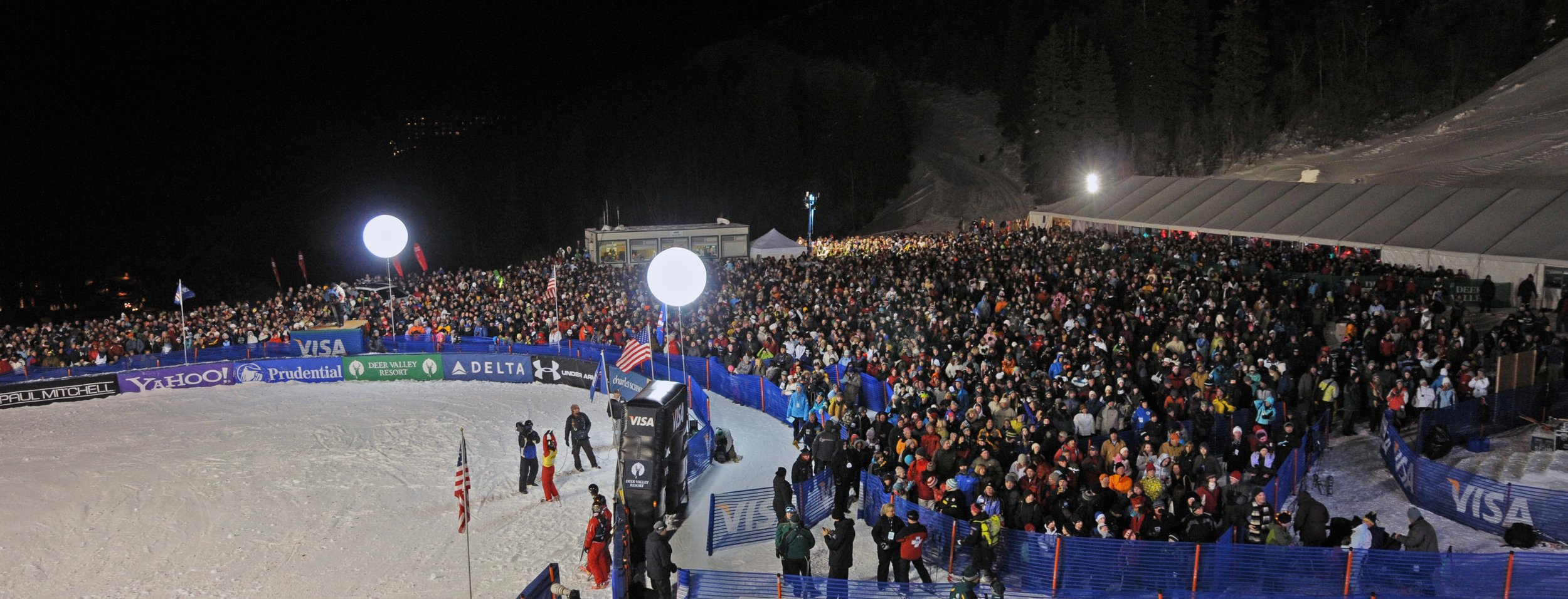 A crowd of over 5,000 packed the finish area at the freestyle World Cup aerials at the 2010 Visa Freestyle International at Deer Valley Resort in Park City, Utah. (U.S. Ski & Snowboard -Tom Kelly)