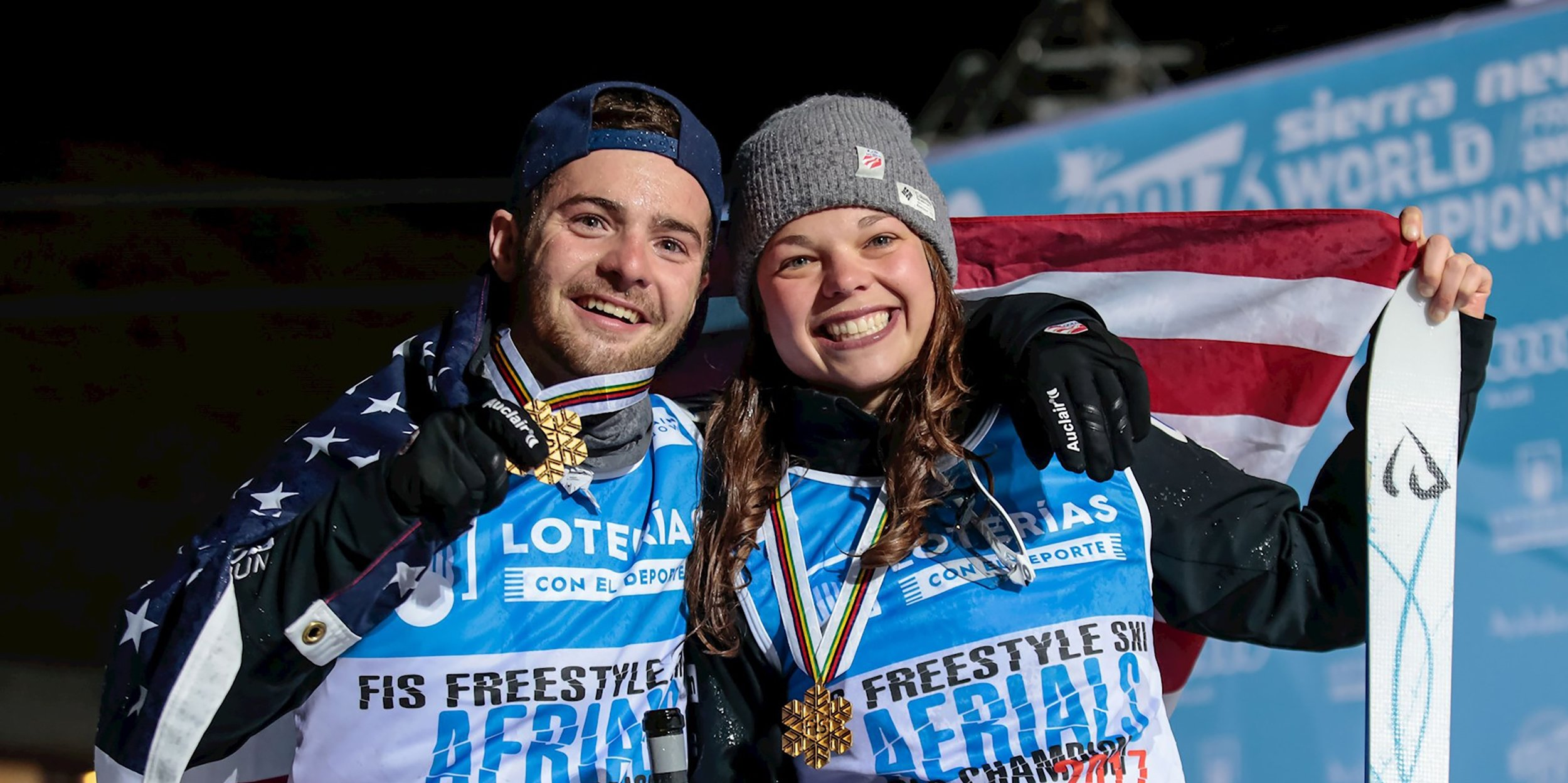 Jonathon Lillis and Ashley Caldwell proudly swept gold in aerials at Freestyle World Championships in Sierra Nevada, Spain. (Sierra Nevada - Pepe Marin)