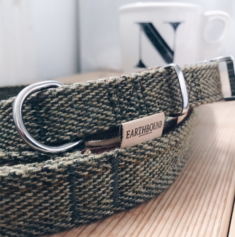 Earthbound tweed leash & collar in green.