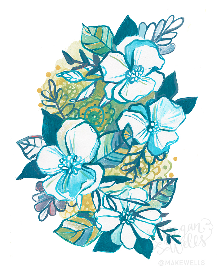Day 300 Florals in Teal and Green - Makewells - Megan Wells.jpg