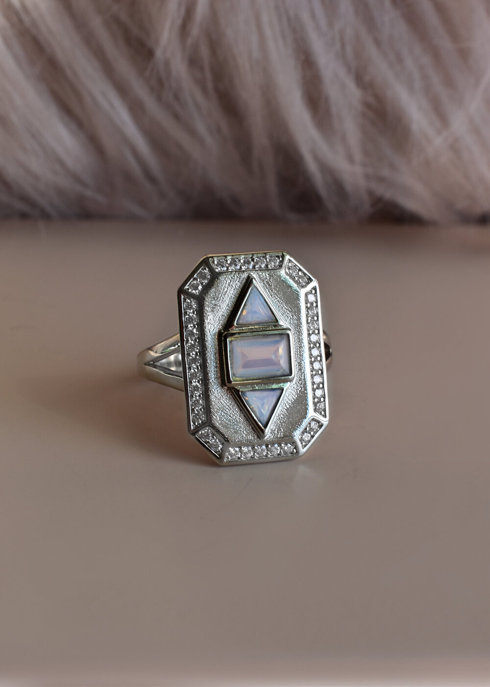 by FecreationsFR. Art Deco ring 30 mm adjustable round ring polymer clay with a labradorite Groove