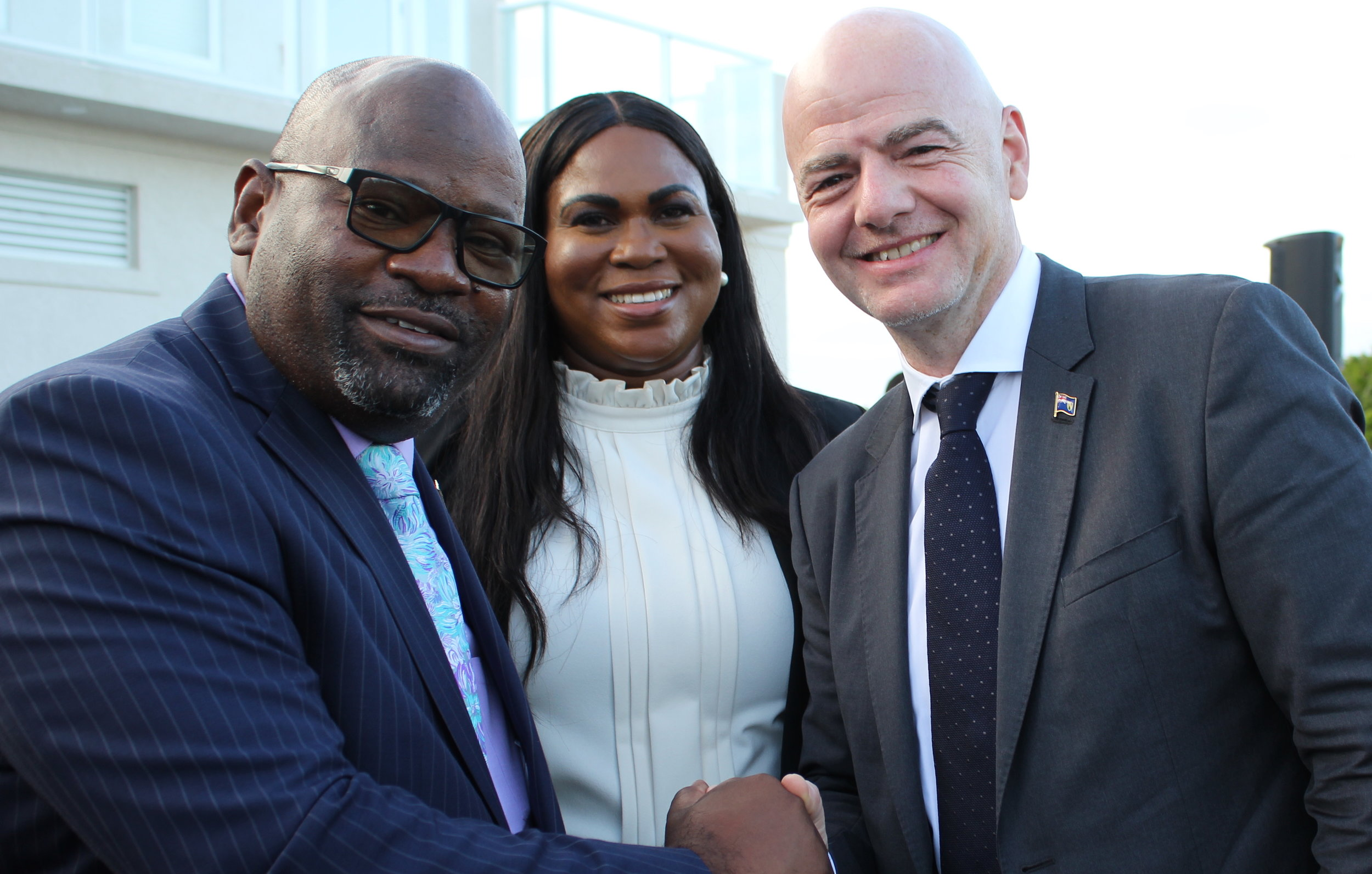 Hon. Ralph Higgs - Minister of Tourism, TCIFA President Sonia Bien-Aime, and FIFA President Gianni Infantino