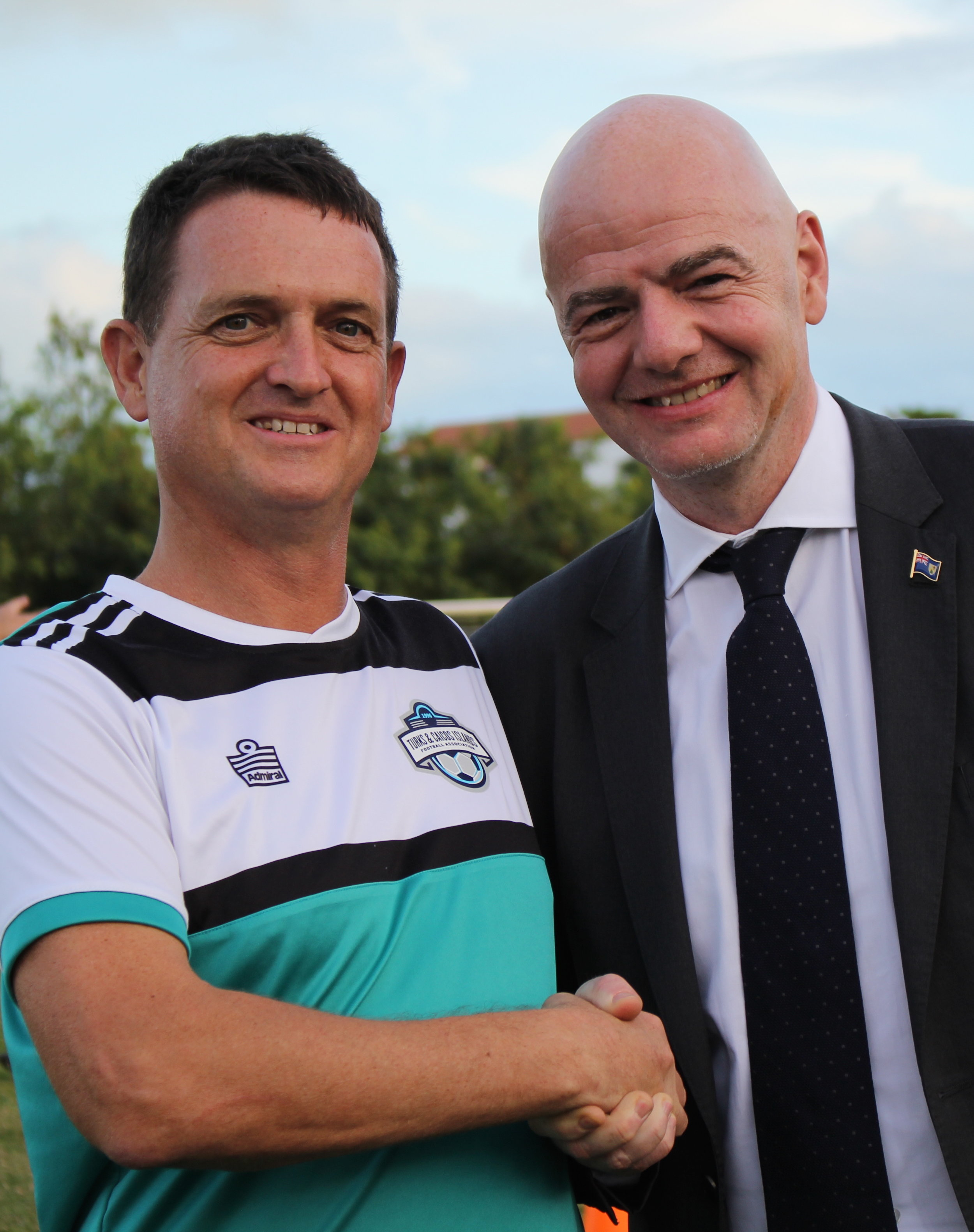 (L-R) PPL President and TCIFA Executive Director Steve Kendrew and FIFA President Gianni Infantino