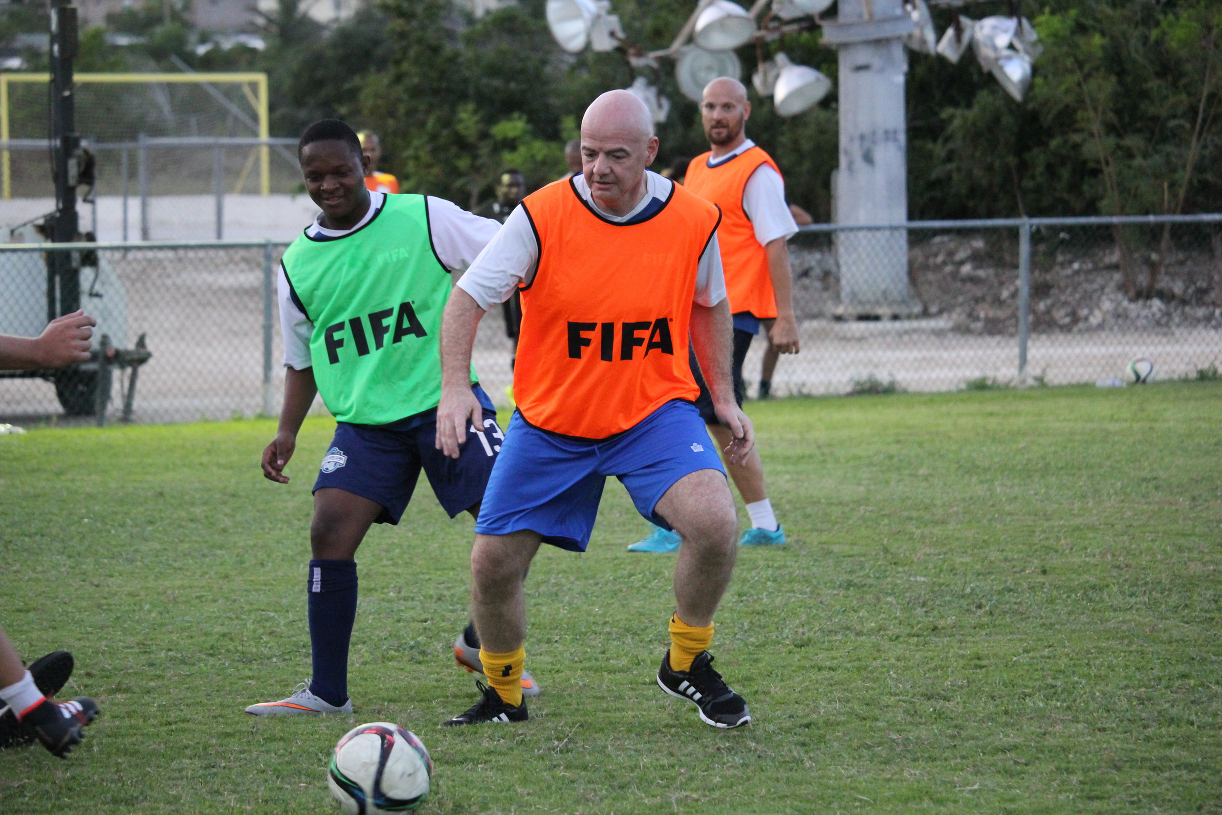 FIFA President Gianni Ascani playing in short scrimmage
