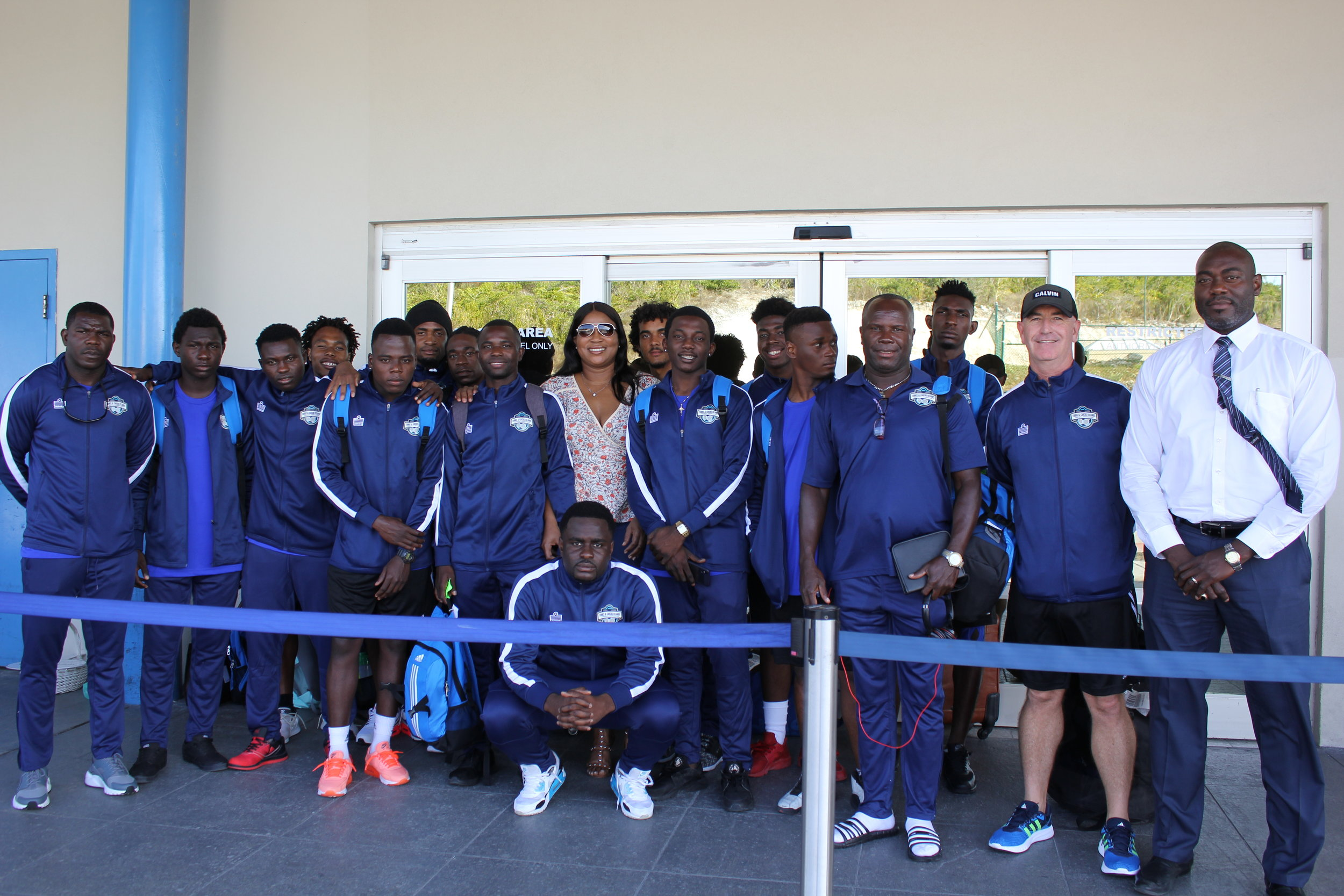 National Team Arrival with TCIFA President Sonia Bien-Aime, and Director of Sports Jarette Forbes.
