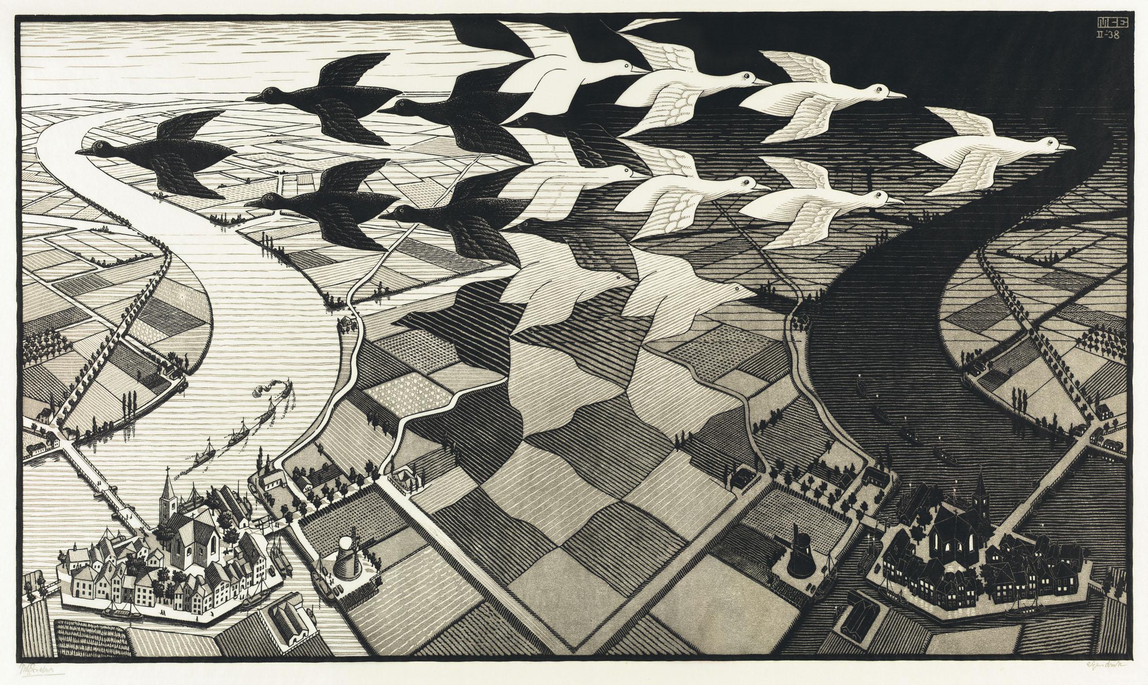 M.C. Escher, Day and Night, 1938.jpg