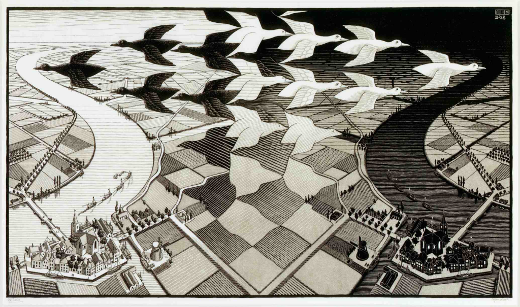 M.C. Escher, Day and Night, 1938.png